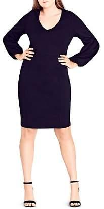 City Chic Plus Balloon-Sleeve Sheath Dress