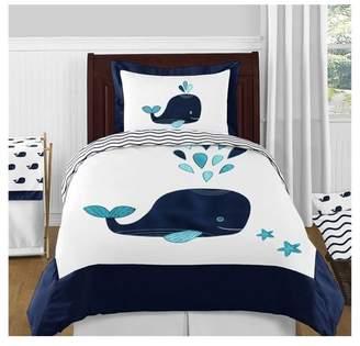 JoJo Designs Sweet White & Blue Whale Comforter Set (Twin) - Sweet