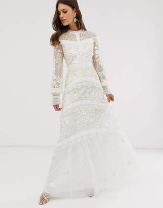 Needle & Thread Bridal lace maxi dress with button detail in ivory