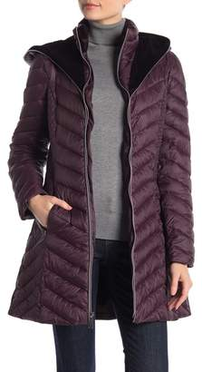 Laundry by Shelli Segal Velvet Lined Hooded Puffer Jacket