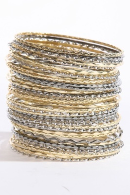 Hematite Gold and Silver Bangle Bracelet 50-Pack