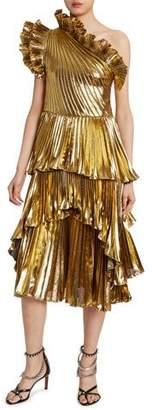 Altuzarra Metallic One-Shoulder Ruffled Dress