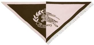 Burberry Wool-Cashmere Graphic Crest Bandana Shawl