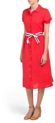 Made In Italy Linen Ruffle Sleeve Shirt Dress