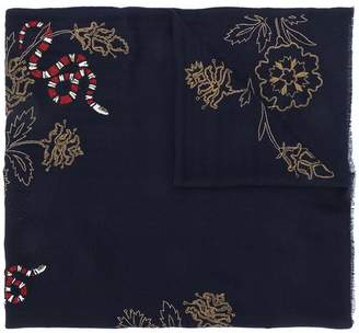 Janavi snake embroidered scarf