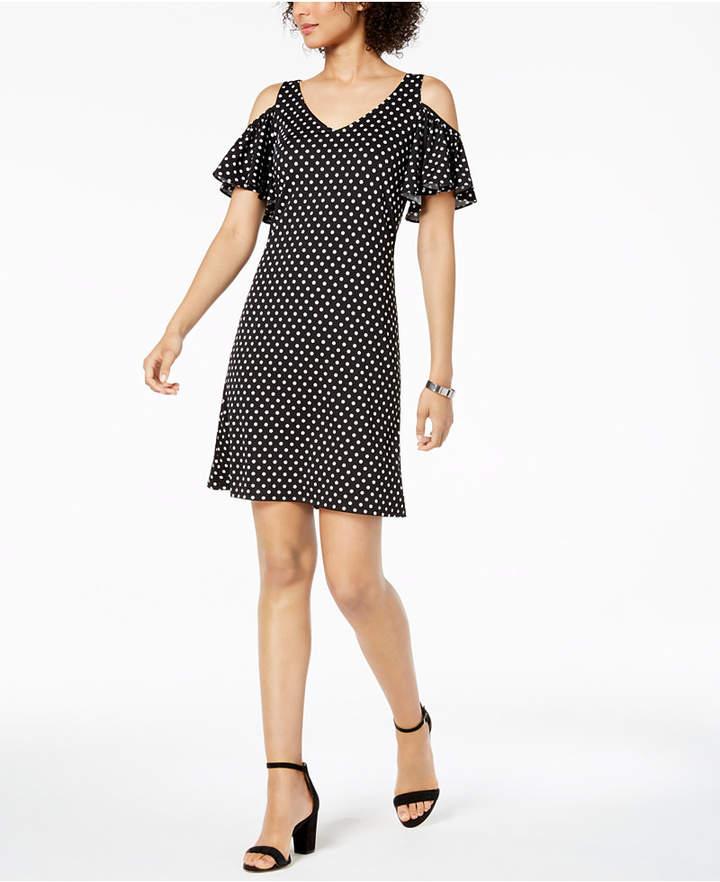 Msk Petite Polka-Dot Cold-Shoulder Dress