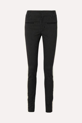 Haider Ackermann Grosgrain-trimmed Pinstriped Cotton-blend Skinny Pants