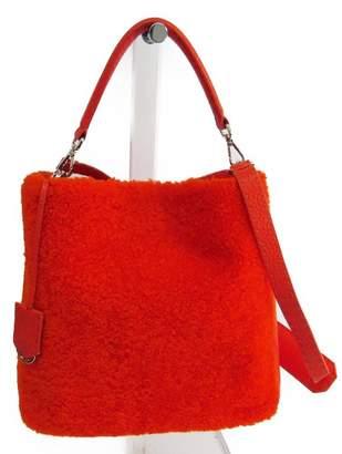 80088775a6 Fendi Orange Shearling and Leather Anna Selleria Shoulder Bag (SHA11101)