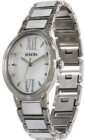 Honora White Mother-of-Pearl Oval StainlessBracelet Watch