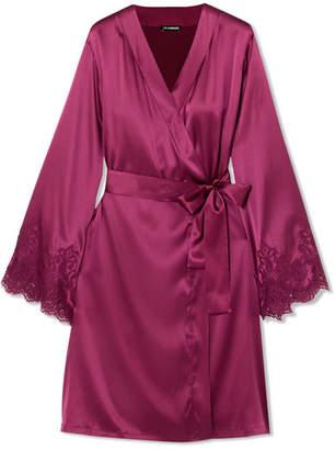 I.D. Sarrieri Chantilly Lace-trimmed Silk-blend Satin Robe