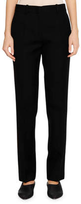 Jil Sander Flat-Fly Front Straight-Leg Virgin Wool Pants