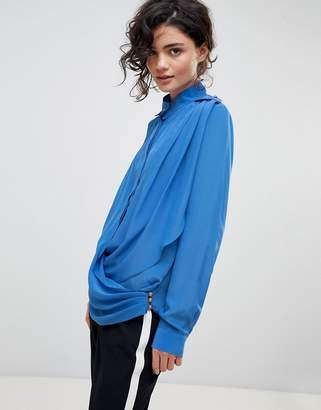 Gestuz Drape Wrap Shirt With High Collar