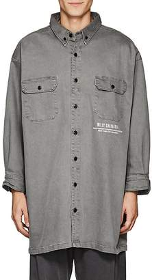 WILLY CHAVARRIA Men's Logo Denim Oversized Button-Down Shirt
