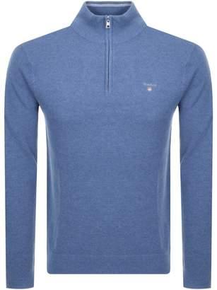 Textured Cotton Pique Half Zip Jumper Blue