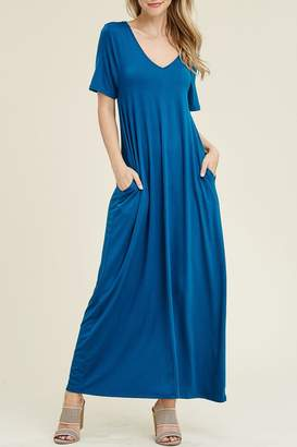 92f33ad54a Riah Fashion V-Neck pocket Maxi Dress