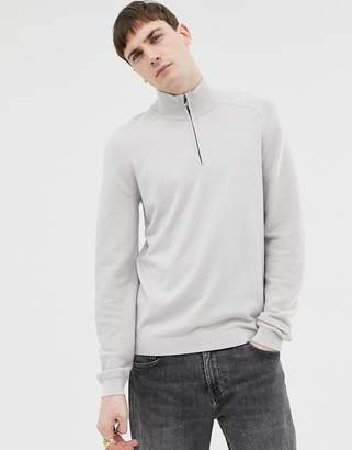 Ted Baker funnel neck sweater with contrast texture sleeve