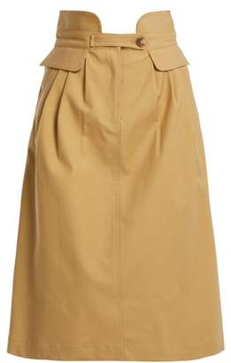 Sea - Kamille High Waisted Cotton Blend Skirt - Womens - Beige