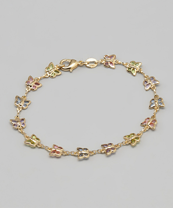 18k Gold-Plated & Four-Color Crystal Butterfly Bracelet
