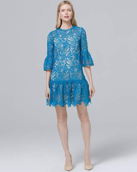 Whbm Dropped-Waist Lace Shift Dress
