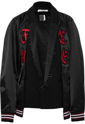 Facetasm Appliquéd Satin And Wool-blend Bomber Jacket - Black