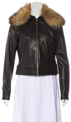 L'Agence Fur-Trimmed Leather Jacket