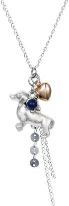 Lapis Nadia Minkoff - Dachshund Charm Necklace Silver with Blue