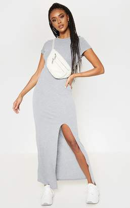 PrettyLittleThing Grey Split T Shirt Midi Dress