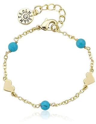 Little Miss Twin Stars Girls' Classic! 14k Gold-Plated Beads and Heart Station Link Bracelet