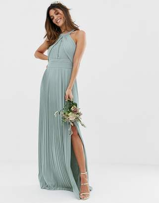 TFNC bridesmaid exclusive pleated maxi dress in sage