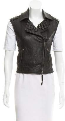Elizabeth and James Studded Leather Vest