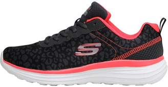 Skechers Womens Girly Mix Trainers Charcoal/Pink