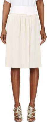 Calvin Klein Collection Beige Spun Silk Micro Pleated Vives Wrap Skirt