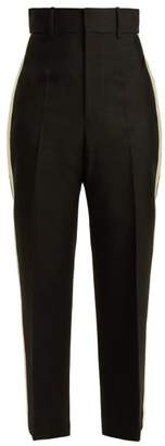 Helmut Lang Silk Trimmed Crepe Trousers - Womens - Black