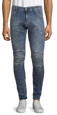 G Star Distressed Logo Skinny Jeans