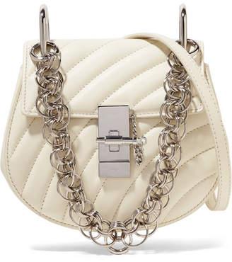Chloé Drew Bijou Quilted Leather Shoulder Bag - White