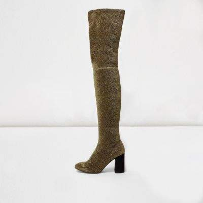 River IslandRiver Island Womens Gold glitter over-the-knee stretch boots