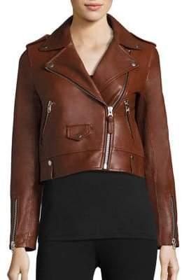 Mackage Baya Cropped Leather Moto Jacket