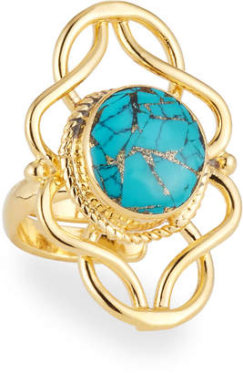 Devon Leigh Turquoise Filigree Ring, Adjustable
