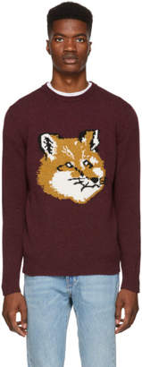 MAISON KITSUNÉ Burgundy Fox Head Sweater