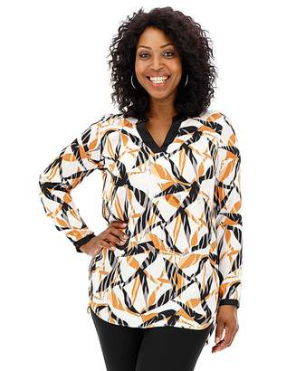 Jd Williams Mixed Zebra Contrast Trim Satin Blouse