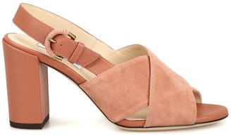 Tod's Tods Suede And Leather Peep Toe Sandals