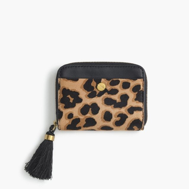 Calf hair leather card case with tasseled zipper