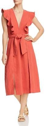 Saylor Sleeveless Ruffle-Trim Midi Dress