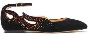 Charlotte Olympia Feelin' Hot Hot Hot Crystal-Embellished Cutout Suede Point-Toe Flats