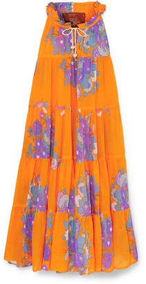 Yvonne S - Tiered Floral-print Cotton-voile Maxi Dress - Orange