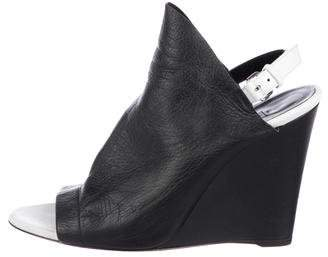 Balenciaga Leather Two-Tone Wedge Sandals