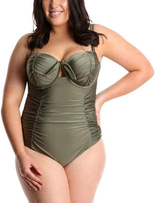 Lysa LYSA Olive Ruched One-Piece Swimsuit Plus Size - Bianca