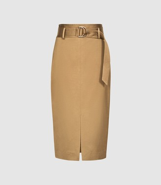 Reiss Bryn - Satin Belted Midi Skirt in Gold