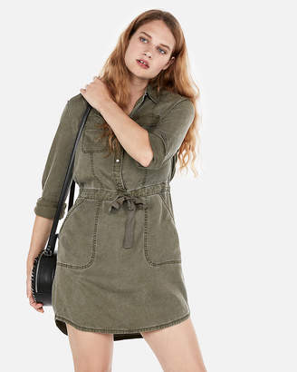 Express Long Sleeve Utility Shirt Dress