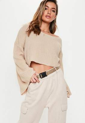 Missguided Nude Off Shoulder Flare Sleeve Sweater